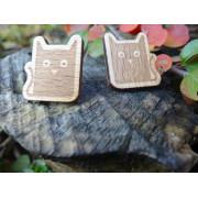 """Dřevěné náušnice - puzety """"kočky"""""""