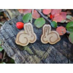 """Dřevěné náušnice - puzety """"králík"""""""