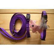 Postroj s vodítkem a aplikací-fialový s králíčkem
