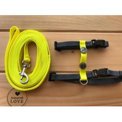 Postroj s vodítkem žlutošedý neon s knoflíky