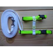 Postroj vodítkem bílo-zelený neon.s knoflíky