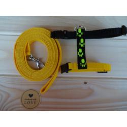 Postroj s vodítkem žlutočerný hand made