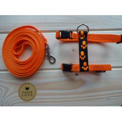 Postroj s vodítkem oranžový hand made